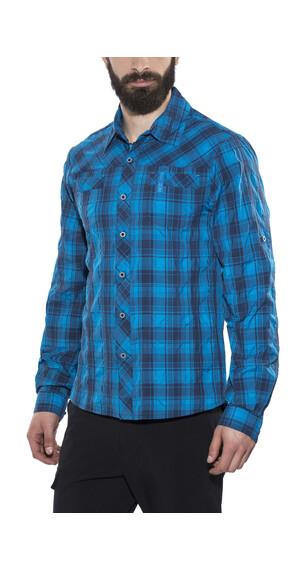 Bergans Leknes LS Shirt Men Navy/Light Sea Blue Check
